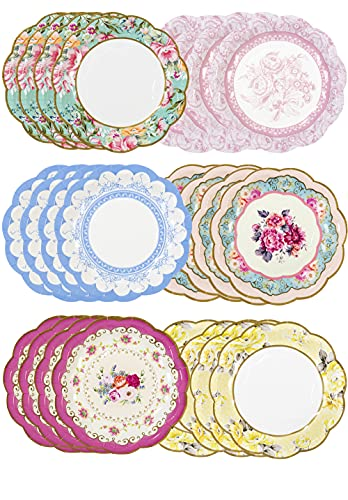 Talking Tables Set di 24 piatti di carta vintage con bordo smerlato, stoviglie usa e getta, ideali per compleanni o feste in giardino, tè pomeridiano, feste nascituro, matrimoni, multicolore
