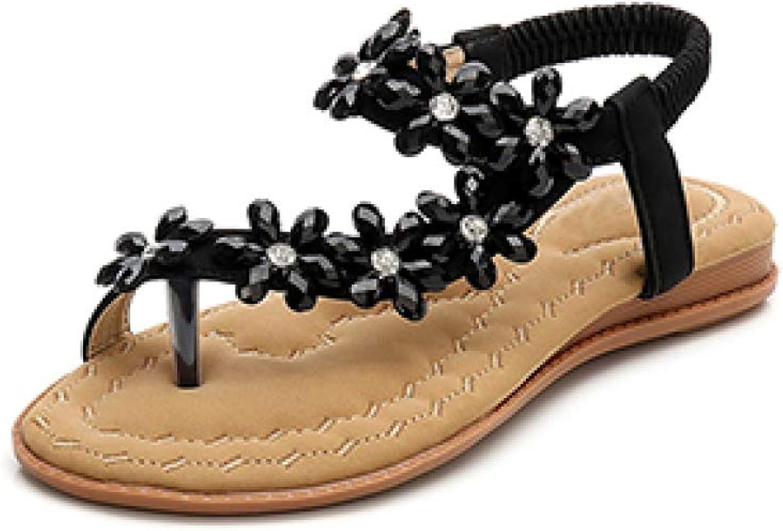 JOYBI Women's Flats Bohemia Thongs Sandals Rhinestones Slingback Ankle Strap Comfortable Soft Clip Toe Flip Flops