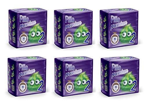 PILLO Premium Mini, Taglia 2 (3-6 Kg), 6 Pacchi da 30 (180 Pannolini Bimbo)