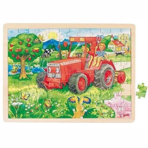 GOKI- Puzzles de maderaPuzzles de maderaGOKIPuzzle Tractor, Multicolor (1)