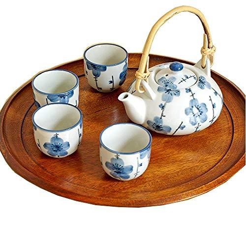 Hokaime Keramik Teekanne Tee-Set, Traubenblume Keramik Teekanne Geschenk-Set, Rattan Griff und 4 Teetassen, Pflaumenblüte