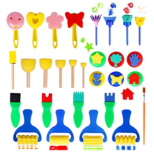 Hakkin 29 Pcs Painting Brushes Set Early Learning Kids Sponge Paint Brush Washable Mini Flower Craft Painting Shapes Stamps Drawing Tools for Kids Toddlers Art Supplies Gifts