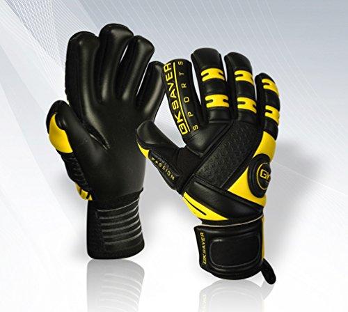 GK Saver - Guantes de Portero de fútbol, Color Negro, Color NO Fingersave NO Personalization, tamaño 8 Adult