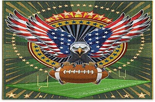 American Eagle con banderas de EE. UU. Y fútbol, 1000 piezas, rompecabezas para adultos, niños, regalo de bricolaje, rompecabezas de madera