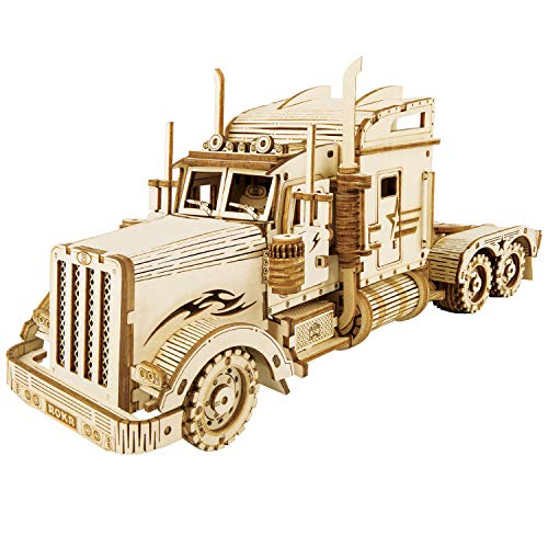 ROBOTIME Heavy Truck 3D Puzzle Build On Your Own Wood Laser Cut Model Kits Adults Building Construction Craft for Kids