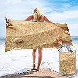Thusjh Asciugamano da Spiaggia Ad Asciugatura Rapida Guscio da Spiaggia Asciugamani da Bagno Leggeri in Microfibra con Stampa Sabbia Adatto per La Famiglia Bambini E Adulti Campeggio Nuoto Yoga
