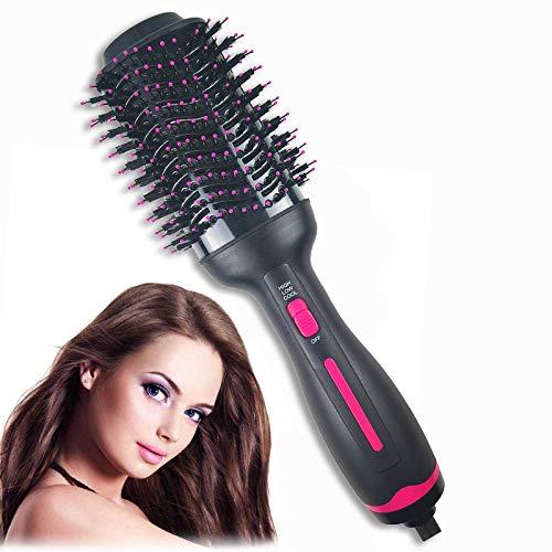 Hot Air Brush ,Hair Dryer Brush, Professional Hair Dryer & Volumizer 3 in 1 Upgrade Anti-Scald Negative Ionic Technology Hair Straightener Brush,Salon Negative Ion Ceramic Electric Blow Dryer (Pink)
