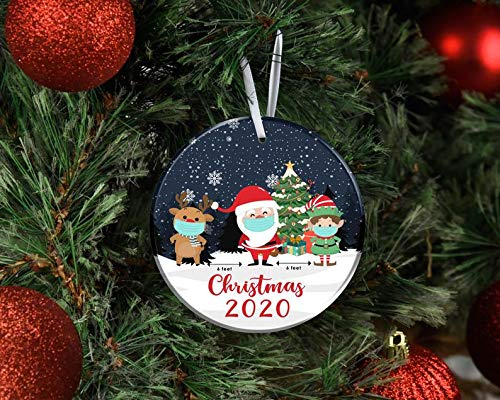 Christmas 2020 ornament, quarantined covid christmas holiday ornament, Six Feet santa Reindeer Grnch Ornament