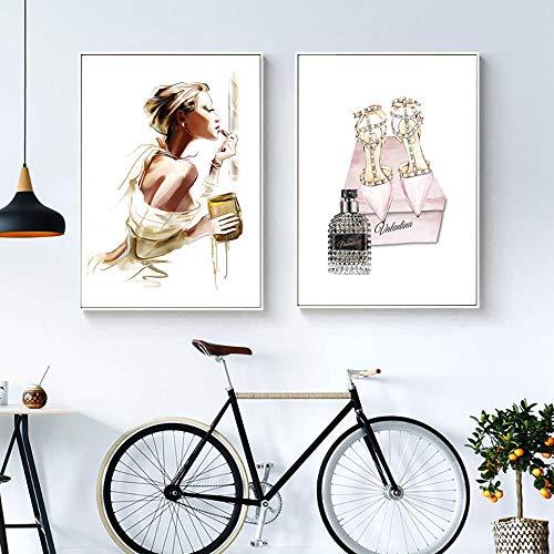 YDGG Fashion Poster afdrukken meisjes make-up canvas schilderij Scandinavische kunst hooghakken schoenen muurschilderingen voor woonkamer parfum wooncultuur 50 x 70 cm x 2 st. Geen lijst