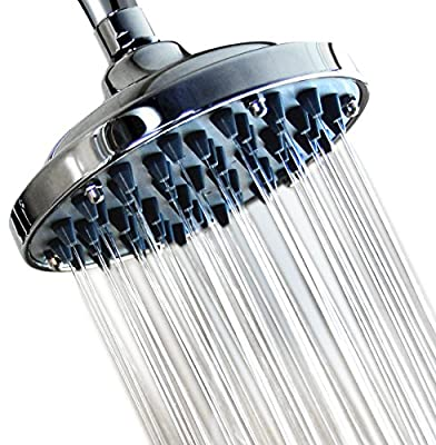 "6"" Fixed Shower head -High Pressure Showerhead Chrome - Powerful Shower Spray against Low water flow - Anti-clog Anti-leak - DISASSEMBLY CAPACITY - Adjustable Metal Swivel Ball Joint with Filter"
