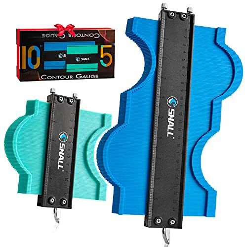 SHALL Contour Gauge with Lock, 10 In & 5 In Profile Gauge, Widen Shape Duplicator with Pin Tightness Adjustable Screw, Master Outline Measuring Plastic Ruler for Irregular Template, Gifts for Handyman