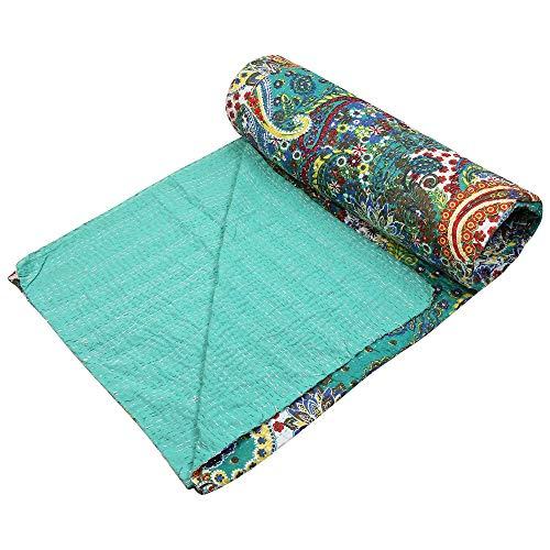 Stylo cultura Cachemira ropa de cama algodón cosido a mano Indian verde Kantha Edredón Reina colcha