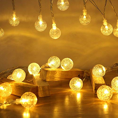 ECOWHO LED String Lights Battery Operated, 40 LED 15FT 8 Modes Waterproof Globe Crystal Ball Outdoor String Lights for Bedroom, Patio, Christmas, Wedding, Party(Warm White)