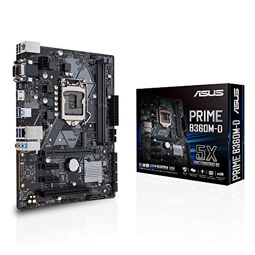 Asus Prime B360M-D Mainboard Sockel 1151 (mATX, Intel B360, DDR4 Speicher, M.2, Intel Optane, 6x SATA 6Gb/s, USB 3.1 Gen2)