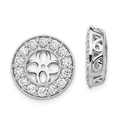 Chaquetas con aretes de diamantes en oro blanco de 14 k
