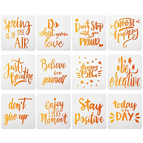 12 Pieces Plastic Word Painting Stencils Inspirational Quote Word Stencils Reusable Motivational Stencils Template for DIY Drawing Craft