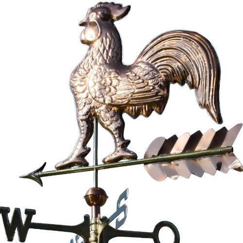 Linneborn Metallwaren GmbH Kupfer Wetterhahn auf Pfeil Motivgröße: 63 x 60 cm inkl. Windrose und 2 Kupferkugeln ca. 5 kg aus poliertem Kupfer. Wetterfahne, Dachschmuck
