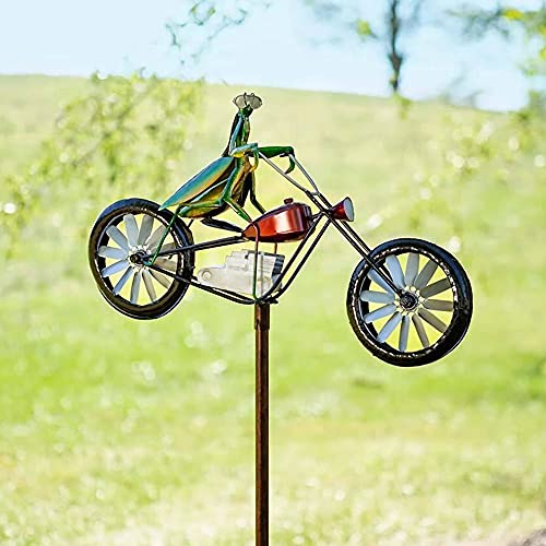 Vintage Bicycle Metal Wind Spinner,Frogs on a Vintage Bicycle Metal Garden Wind Spinner,Handmade Bicycling Frogs Statue Sculpture for Indoor Outdoor Garden Decor (Mantis)