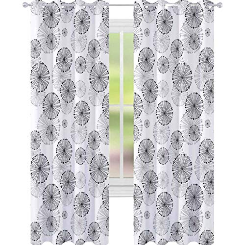 YUAZHOQI Cortina opaca aislada térmica, diseño de diente de león, diseño de flores, silueta de Natur para sala de estar, 132 x 213 cm