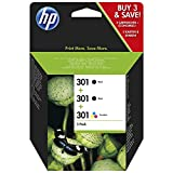 HP 301 Multipack Original Druckerpatronen (2x schwarz, 1x Farbe) für HP Deskjet; HP Officejet; HP ENVY