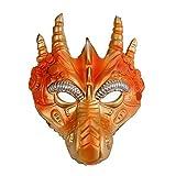XWYWP Máscara de dragón 3D para Halloween, carnaval, cosplay, disfraz, disfraz, fiesta, espuma sintética, color dorado