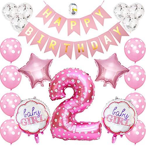 onehous Geburtstag Dekoration Aufblasbar Helium Folie Ballons, Happy Birthday Baby Girl Mädchen 2. Geburtstag Party Luftballons Set Supplies, Party Dusche Foto Requisiten Zahl 2 rund Herz - Rosa