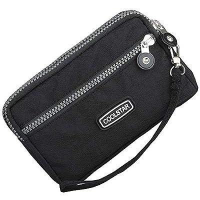 3 Zippers Clutch Wallet Waterproof Nylon Cell phone Purse Wristlet Bag Money Pouch for Women