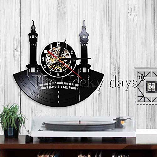 LTOOD Famosa Ciudad La Meca Vinyl Record Reloj de Pared Cultura islámica Reloj de Pared Vintage Decoración de Pared Arquitectura Musulmana Reloj de Pared