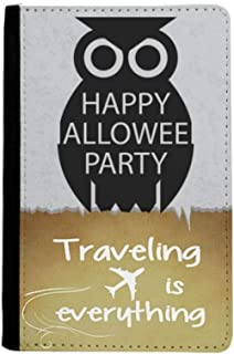 Halloween Simple Black Cartoon Owl Traveling quato Passport Holder Travel Wallet Cover Case Card Purse
