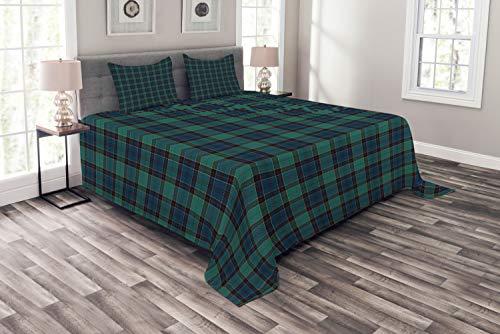 ABAKUHAUS Schottenkaro Tagesdecke Set, Scottish Folklore-Muster, Set mit Kissenbezügen Romantischer Stil, für Doppelbetten 264 x 220 cm, Dunkelgrün Schwarz