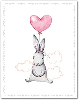 Children's Nursery Bunny Wall Art - Unframed 11 x 14 Cute Rabbit Colour Print - Makes a Great Gift for Family and Friends