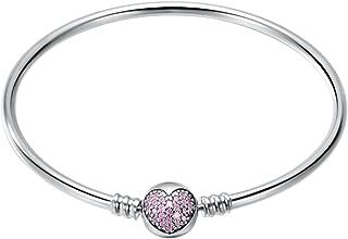 925 Sterling Silver Bangle Bracelet for Charms, 17CM, 19CM, 21CM