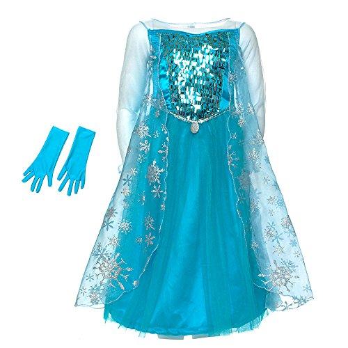 Disney - original Costume /robe avec éclat et des gants - Frozen - Elsa La Reine des Neiges - taille 5 - 6 années
