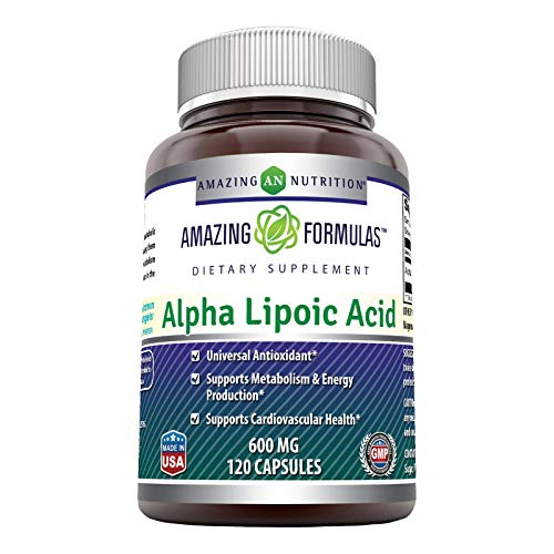 Amazing Formulas Alpha Lipoic Acid * 600mg 120 Capsules Per Bottle * Pure ALA Capsules (Non-GMO,Gluten Free)- Ideal Formulas Supplement for Healthy Weight Management, Athletic Performance & More