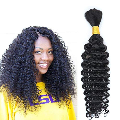 "Hannah Deep Weave Bulk Braiding Hair, 100% Human Hair,Micro Braids,Hot Selling,Mixing length 50g Each Bundle (16""16""16"") Natural Color 1B#"