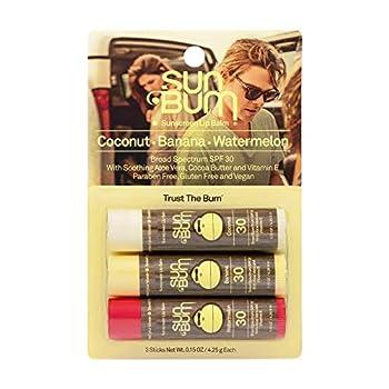 Sun Bum SPF 30 Sunscreen Lip Balm   Vegan and Cruelty Free Broad Spectrum UVA/UVB Lip Care with Aloe and Vitamin E for Moisturized Lips   Variety Pack  .15 oz