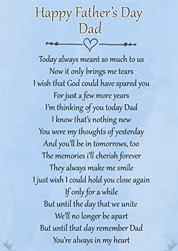 Happy Fathers Day Dad Memorial Graveside Poem Keepsake Card Includes Free...