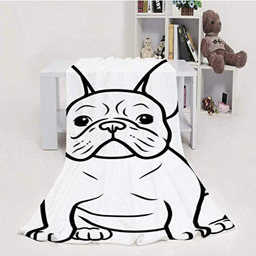 959 Custom Personalized French Bulldog Black and White Hand Drawn Cartoon Portrait-.Funn pupp Sitting Looking Ford.Dogs,House Flannel Throw Microfiber Blanket Pets Themed Design Element 70''x80''(WxL)