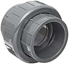 Union fitting for connecting and disconnecting two pipes more easily than with couplings Socket openings on both ends for connecting two male pipes PVC for strength and resistance to chemicals and corrosion, and an EPDM seal for resistance to oil, wa...