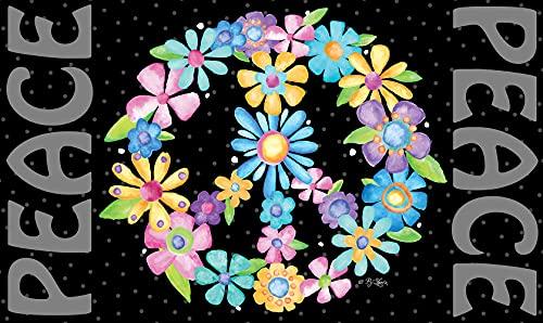 "Toland Home Garden 800451 Peace Sign Flowers Doormat, 18"" x 30"", Multicolor"