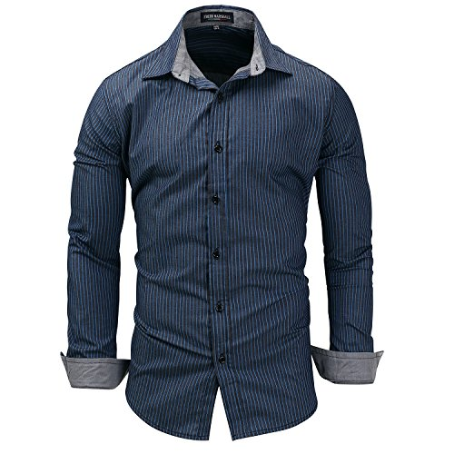 Herren Mode Neu Baumwolle Preussian Blue Large Size Denim Langarm-Shirt Nadelstreifen Revers Hemd(XXL,Preußisch blau)