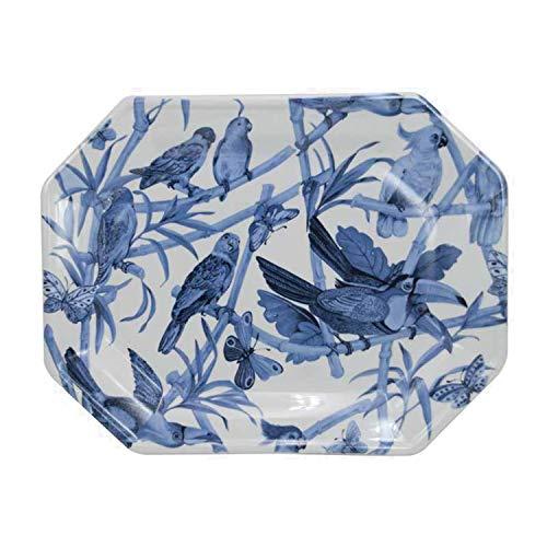 Bandeja Octogonal cerámica Loros, Color Blanco y Azul. Medidas: 37,5 x 29,5 x 3,5 centímetros. Material: cerámica (Referencia: 1398490)