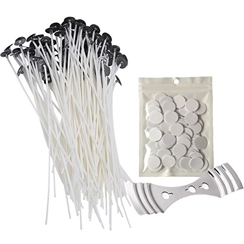 """Senchanting Candle Making Kit - 100 Pieces x 8"""" Pre Waxed Wicks with Sustainers, 100 dots Double-Sided Wick Stickers and 1 Piece Stainless Wick Fixed Holder for Candle Making"""