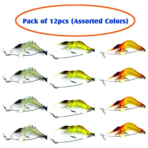EASY BIG Artificial Baits Soft Shrimp Lures Set for Freshwater and Saltwater, (Assorted 3-Colors),3.54in/0.21oz (Pack of 12pcs)
