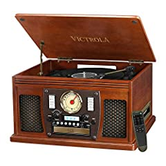 8-in-1 ENTERTAINMENT CENTER – With vintage looks & modern features, this turntable not only plays your Vinyls, but also has a CD & cassette player, FM radio, Bluetooth, and Aux & headphone jack for audio streaming from your smartphone NO STEREO SYSTE...