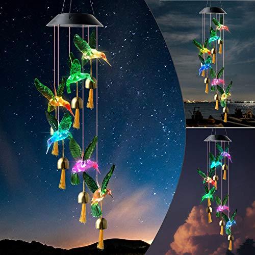 JOBOSI Hummingbird Wind Chimes,Gifts for mom, Gifts for Grandma, Garden Decor, Garden Gifts, Solar Wind Chimes, Wind Chimes Outdoor, Chimes Outside, Solar Light