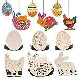 SEEHAN 60 decorazioni pasquali in legno per dipingere, fai da te, in legno, decorazioni da appendere, per Pasqua, decorazioni da appendere a uova, gallina, conigli