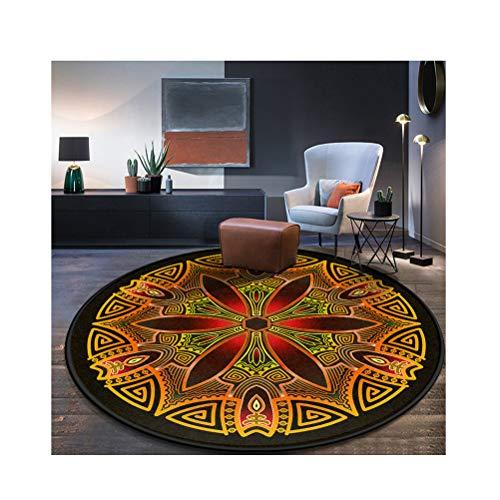 Siunwdiy Vintage Verzierten Runde Teppich Nordic Folk Style Wohnzimmer Schlafzimmer Studie Hängen Korb Computer Stuhl Verdickung Teppich Verschiedene Größen,G,Diamètre60cm