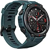 Amazfit T-Rex Pro Smartwatch Fitness Watch with Built-in GPS, Military Standard Certified, 18 Day Battery Life, SpO2, Heart Rate Monitor, 100+ Sports Modes, 10 ATM Waterproof, Steel Blue