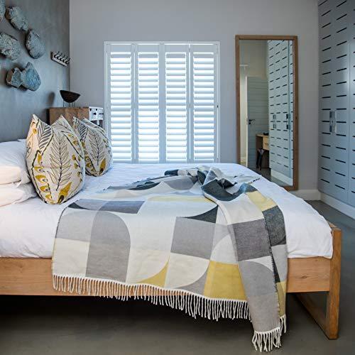 LILENO HOME Plaid come coperta e coperta, Bella Vita Bauhaus Steel-wild Dove - Casetta da giardino, 150x200 cm - Triple Jaquard Weave - 365 g/m²